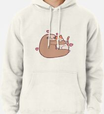 Sloth Loves Cat Pullover Hoodie