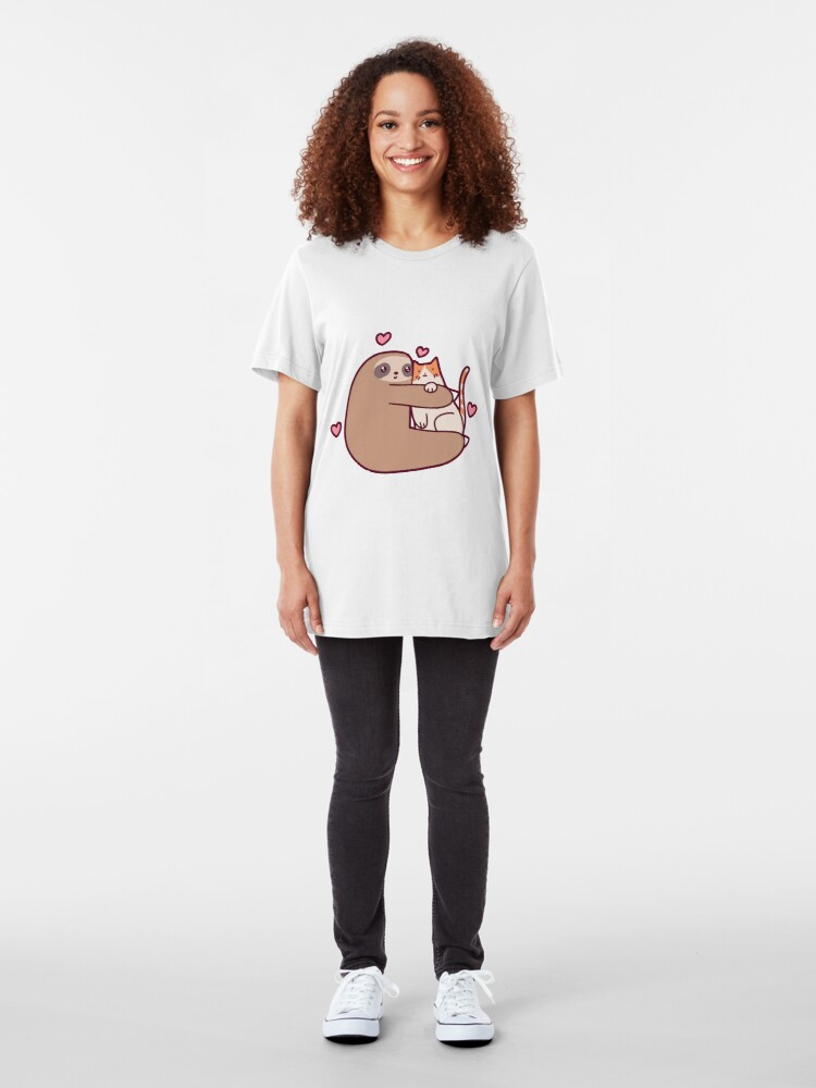Alternate view of Sloth Loves Cat Slim Fit T-Shirt