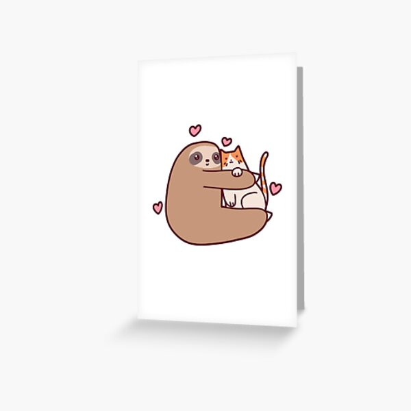Sloth Loves Cat Greeting Card