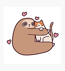 Sloth Loves Cat Photographic Print