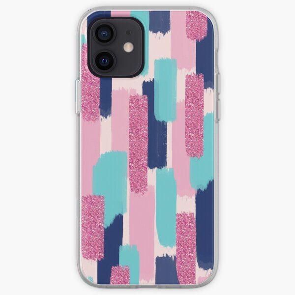 Navy and Pink Glitter | Brush Strokes iPhone Soft Case