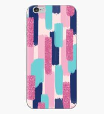 Navy and Pink Glitter   Brush Strokes iPhone Case