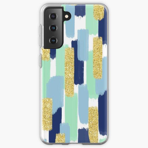 Navy and Gold Glitter | Brush Strokes Samsung Galaxy Soft Case