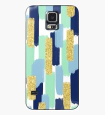 Navy and Gold Glitter   Brush Strokes Case/Skin for Samsung Galaxy