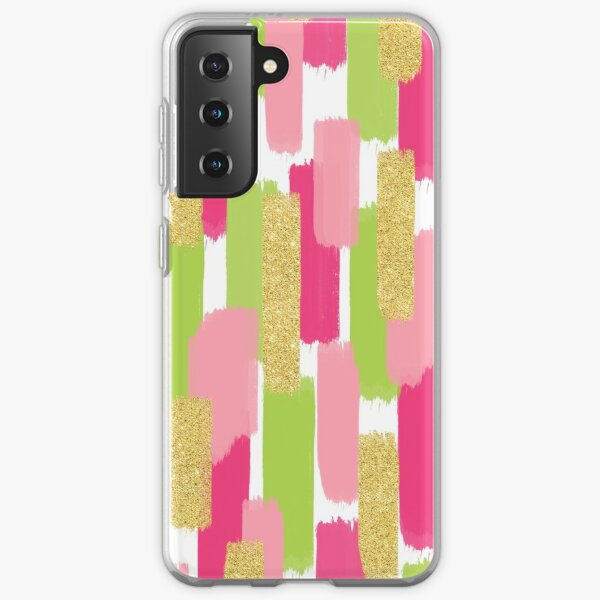 Pink and Gold Glitter | Brush Strokes Samsung Galaxy Soft Case