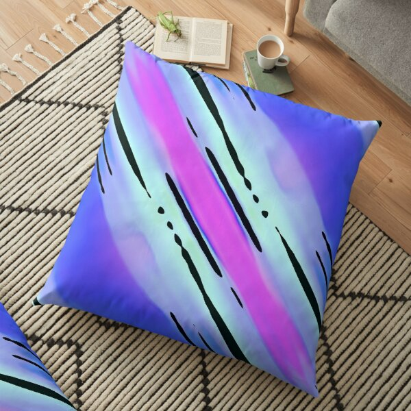 Modern Geometric Blue Lilac Pink Black Pattern Design 1908 Floor Pillow