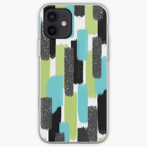 Turquoise and Black Glitter | Brush Strokes iPhone Soft Case