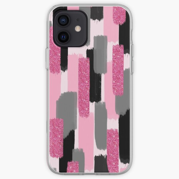 Black and Pink Glitter | Brush Strokes iPhone Soft Case