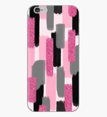 Black and Pink Glitter   Brush Strokes iPhone Case