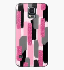 Black and Pink Glitter   Brush Strokes Case/Skin for Samsung Galaxy
