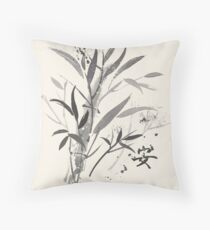 Bamboo Garden With Tranquility Symbol Throw Pillow