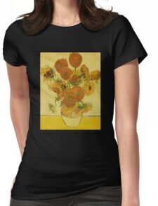'Still Life with Sunflowers' by Vincent Van Gogh (Reproduction) Womens Fitted T-Shirt