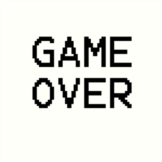 Quot Game Over Gamer Text Quot Art Print By Snappybrick Redbubble