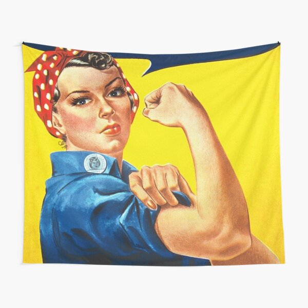 """""""We Can Do It!"""" is an American World War II wartime poster produced by J. Howard Miller in 1943 for Westinghouse Electric as an inspirational image to boost female worker morale Tapestry"""