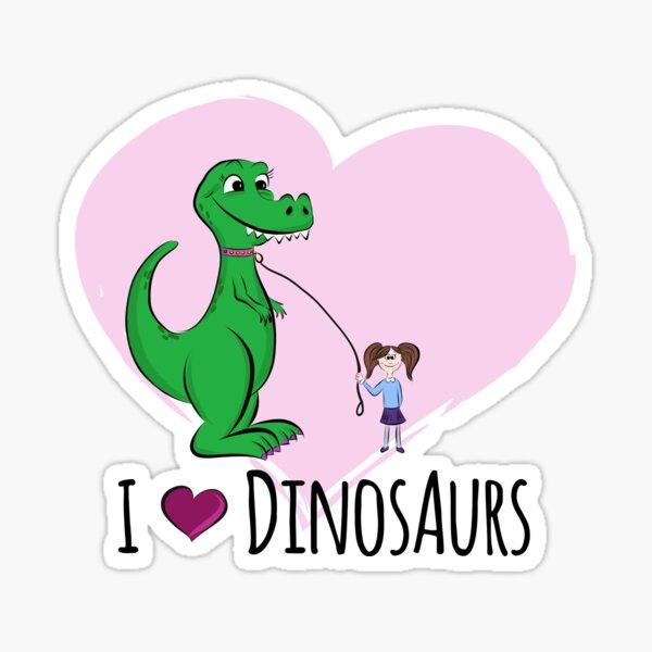 """Dino """"I love Dinosaurs"""" mit Mädchen Sticker"""