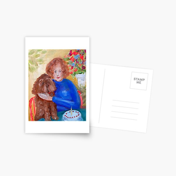 The lady with the labradoodle  Postcard