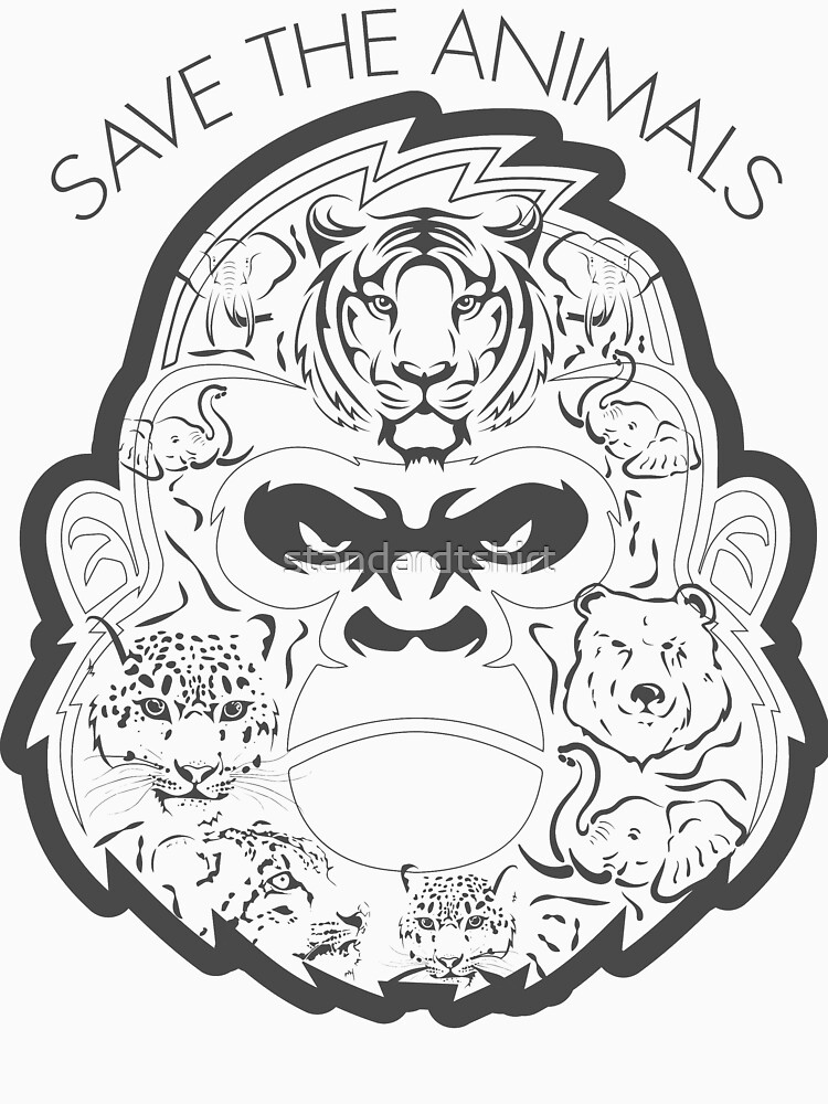 Save The Animals Composition of Many Animal Faces by standardtshirt