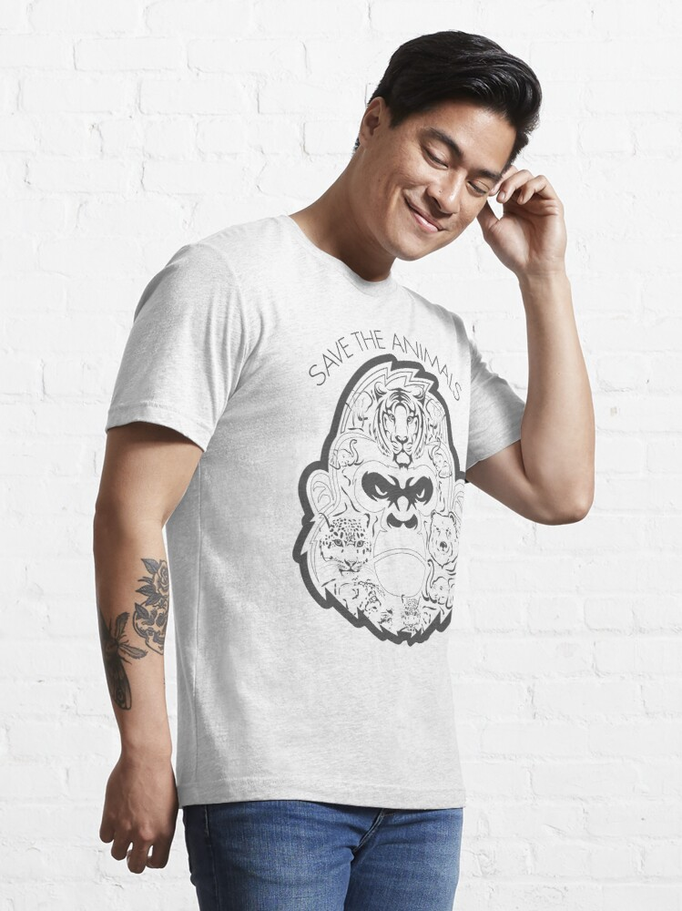 Alternate view of Save The Animals Composition of Many Animal Faces Essential T-Shirt