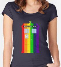 Rainbow Tardis Women's Fitted Scoop T-Shirt