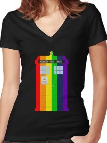 Rainbow Tardis Women's Fitted V-Neck T-Shirt