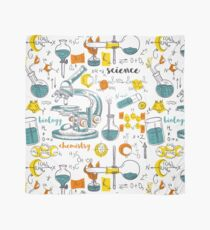 Vintage seamless pattern old chemistry laboratory with microscope, tubes and formulas Scarf