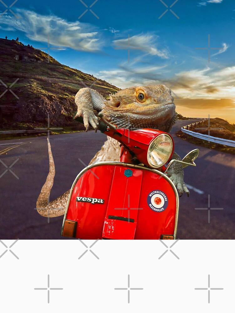 Bearded Dragon Sunset Vespa Roadtrip by snibbo71