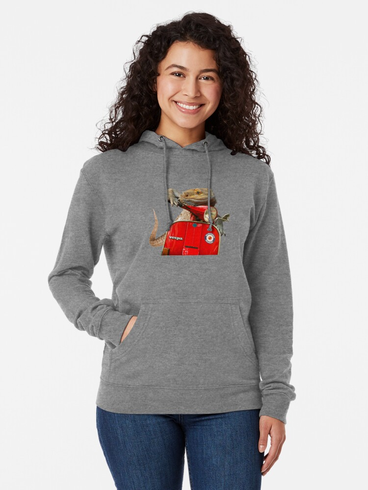 Alternate view of Born To Be Wild - Bearded Dragon On A Vespa Lightweight Hoodie