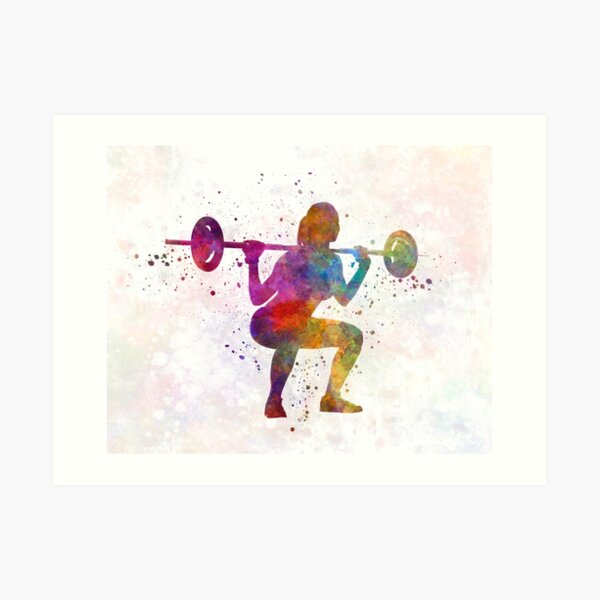 Body building woman isolated Art Print