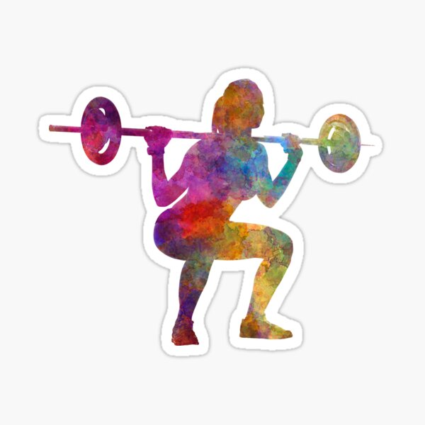 Body building woman isolated Sticker