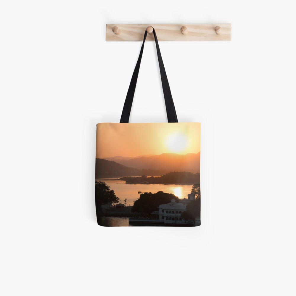 Sunset over the Lake Pichola. Udaipur Tote Bag