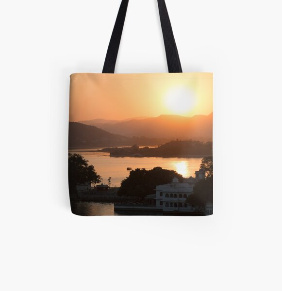 Sunset over the Lake Pichola. Udaipur All Over Print Tote Bag