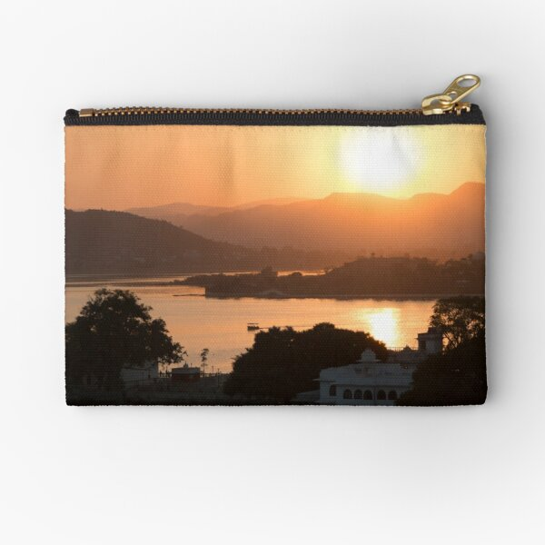 Sunset over the Lake Pichola. Udaipur Zipper Pouch