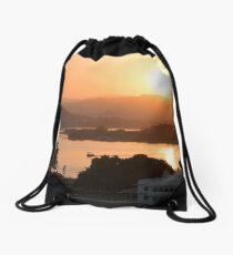 Sunset over the Lake Pichola. Udaipur Drawstring Bag
