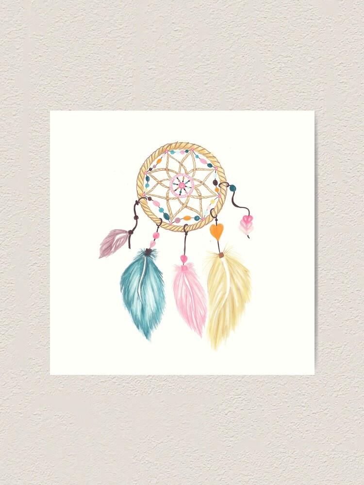 """Beautiful Dreamcatcher CANVAS ART PRINT spiritual Native Pink poster 16/""""X12/"""""""