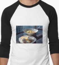 A bowl of cereals and yogurt and a plate with cheese and eggs. Men's Baseball ¾ T-Shirt