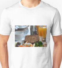 Lunch with pasta, bread, vegetables and orange juice. T-Shirt