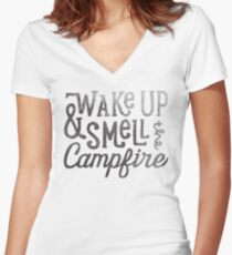 wake up & smell the campfire Women's Fitted V-Neck T-Shirt
