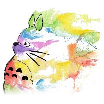 Rainbow  totoro by Downyart