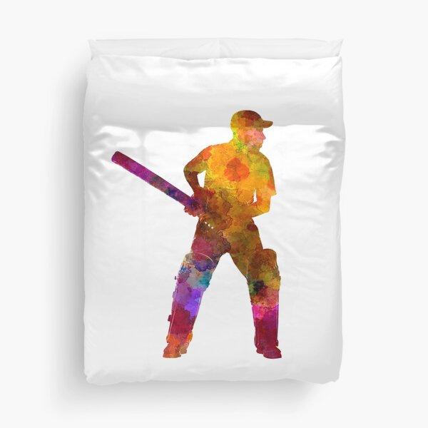 Cricket player batsman silhouette 07 Duvet Cover