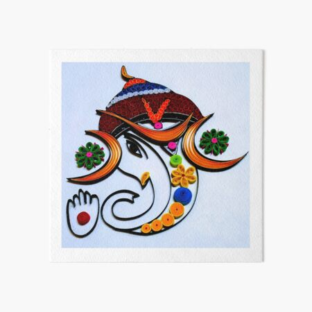 Paper Quilling Lord Ganesha  Art Board Print