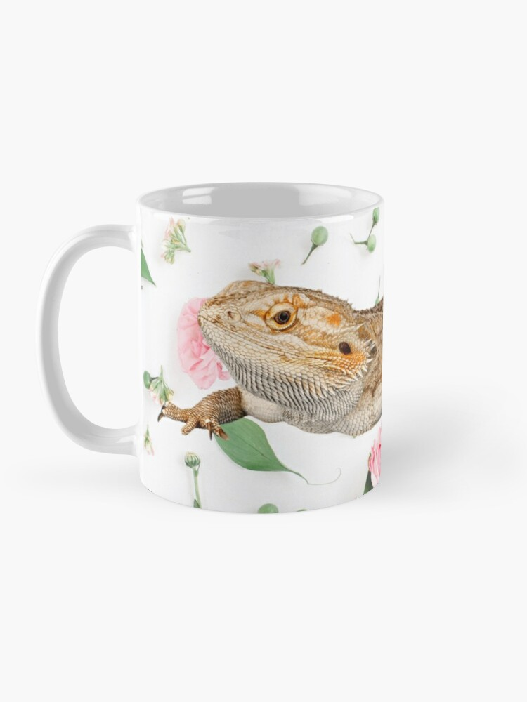 Alternate view of Bearded Dragon On A Carnation Background Mug