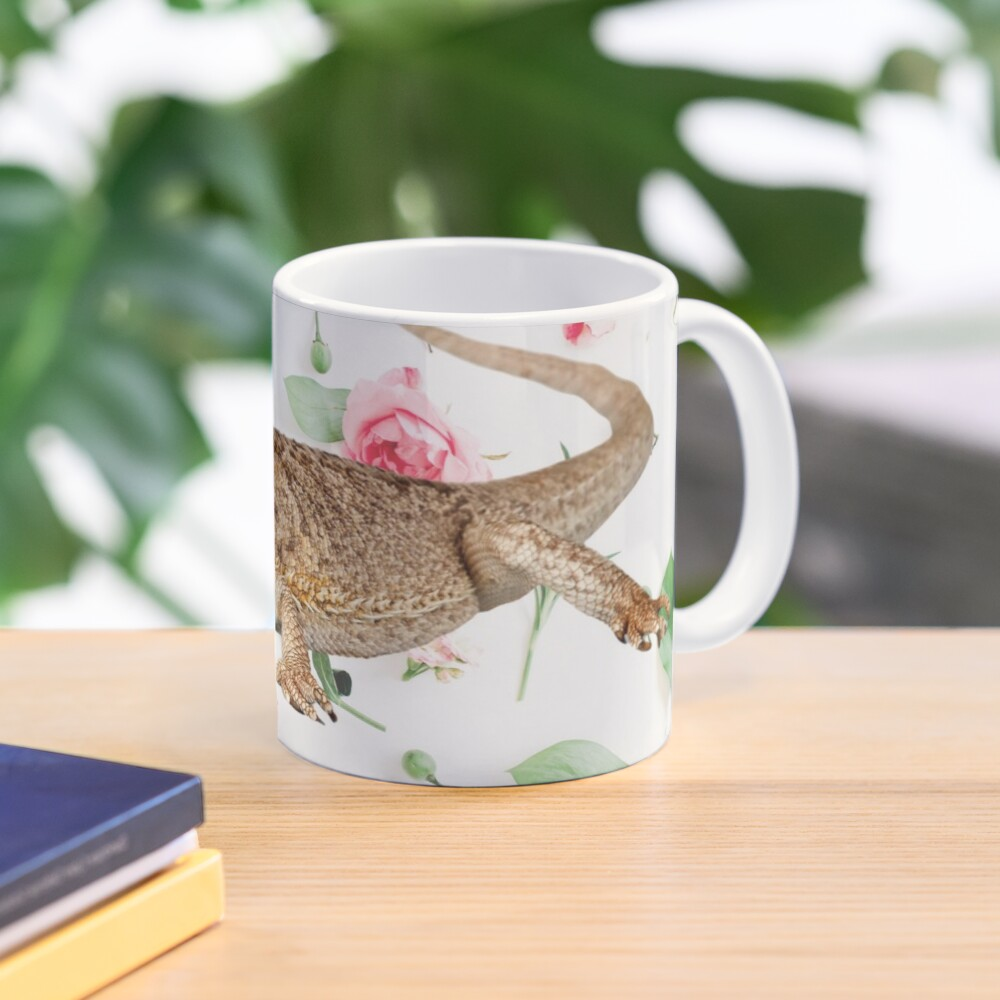 Bearded Dragon On A Carnation Background Mug