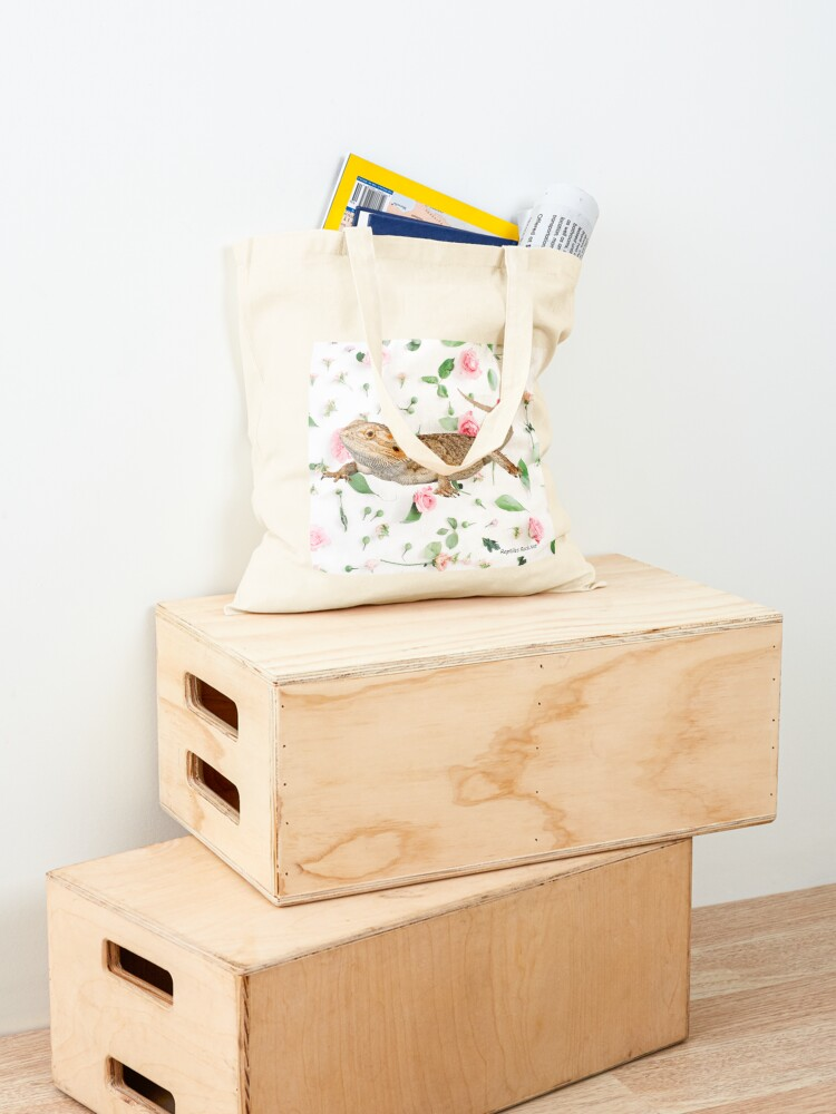 Alternate view of Bearded Dragon On A Carnation Background Tote Bag