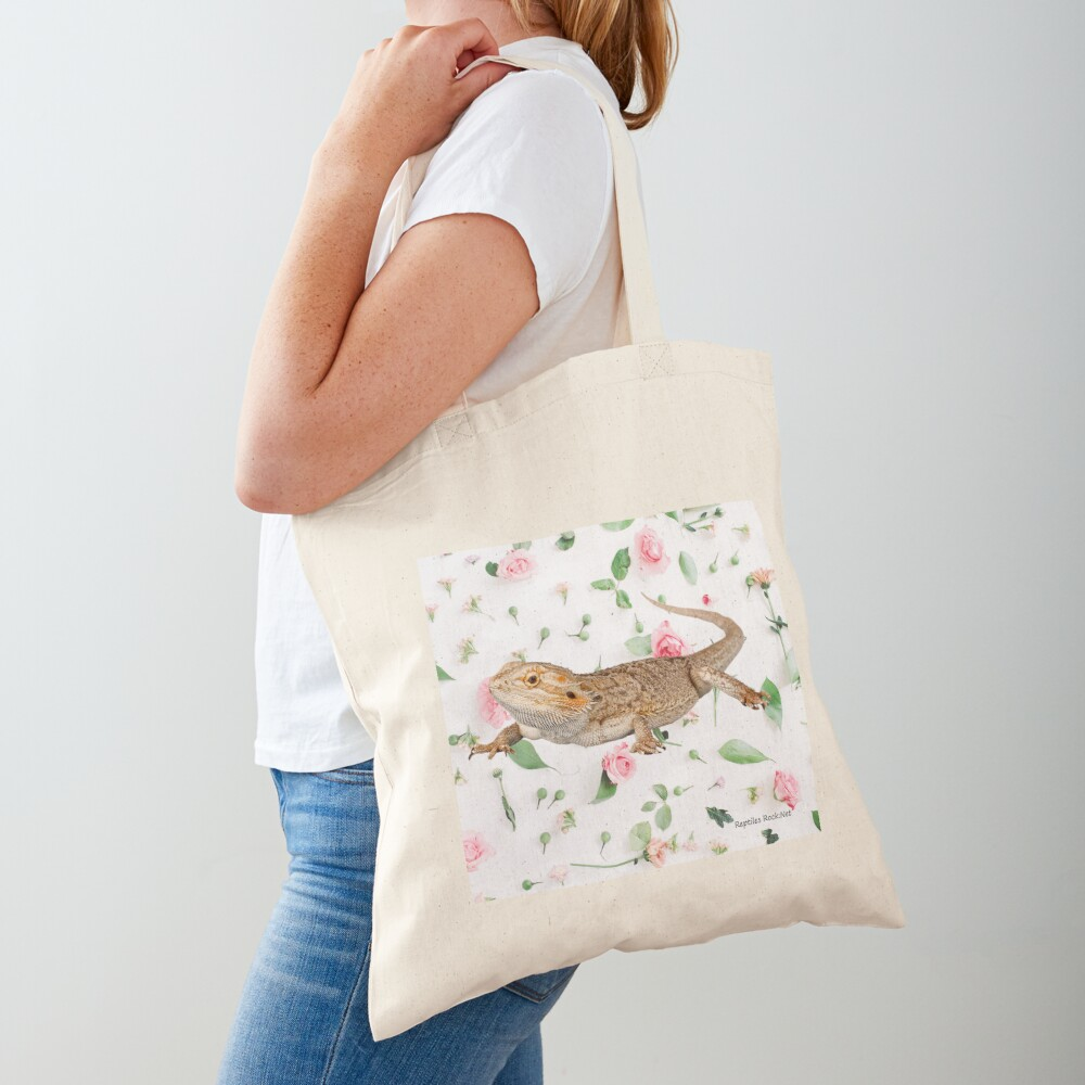 Bearded Dragon On A Carnation Background Tote Bag
