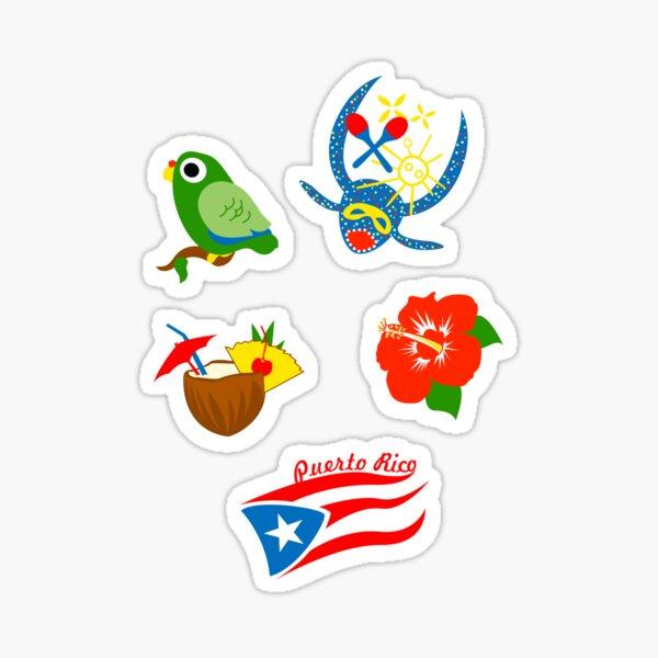 Set of Stickers Symbols Puerto Rico Flag Pina Colada Parrot Hibiscus Mask Glossy Sticker