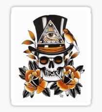 Slash Skull - skull and roses tattoo Sticker