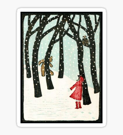 Hello Bear - Original woodcut by Francesca Whetnall Sticker