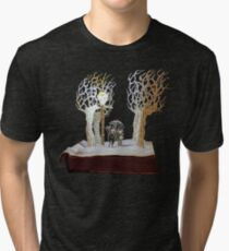 Tumnus and Lucy Narnia book sculpture Tri-blend T-Shirt