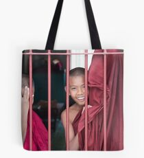 2 Young Monks in Myanmar Tote Bag