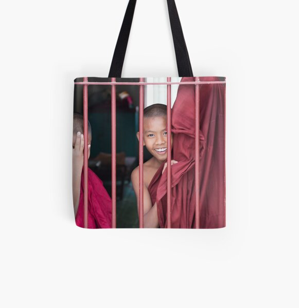 2 Young Monks in Myanmar All Over Print Tote Bag